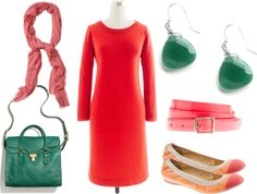 """""""Poppy Red + Emerald"""" by kluster on Polyvore"""