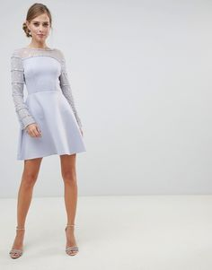 d5e2c97d157 ASOS DESIGN Scuba Mini Dress with Embellished Sleeves and Back Detail