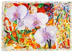Available for sale from Nancy Hoffman Gallery, Joseph Raffael, Orchids Dream (2013), Watercolor on paper, 55 × 78 in