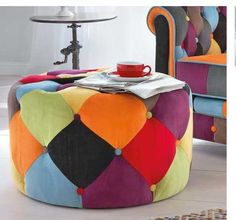#patchwork #pouf #puf this.....wish there was a pattern or tutorial