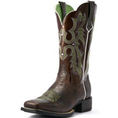 "Ariat Ladies' Tombstone Cowgirl Boots Chocolate Chip CowhideFoot: Chocolate Chip Full-grain Premium LeatherTop: 11"" Brown Patent TopToe: Wide Square Toe with Double Stitch WeltHeel: 1.5"" RoperInsole: Removable gel cushioned ATS™ footbed with Orthotic archOutsole: Duratread™ outsoleStyle"