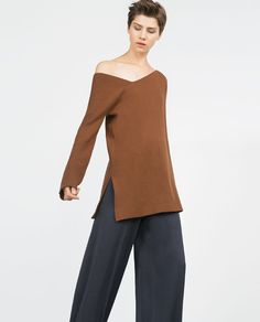 Image 4 of SWEATER WITH ASYMMETRIC NECKLINE from Zara