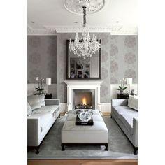 Seabrook Wallpaper CR32400 - Carl Robinson 11-Capri - Medallion design wallcovering in a living room photo
