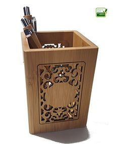 Hollow Design Bamboo Wood Pencil Holder. Pen Holder Can B...