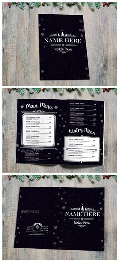 Winter Food Menu — Photoshop PSD #print template #christmas • Available here → https://graphicriver.net/item/winter-food-menu/13471744?ref=pxcr