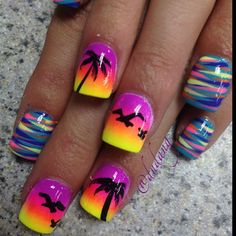 Fuschia, Orange, Yellow sunset sponge technique with solid black tropical designs, Palms, sea birds, multi color striping done with thin striping brush free hand nail art