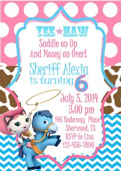 Sheriff Callie Invitation Cowgirl By EyeCandyEvents1 899