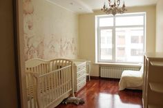Delicately painted cute wall mural for a girl's nursery.