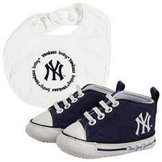 Baby Fanatic New York Yankees Bib and Pre Walkers Set Canvas shoes with elastic shoe laces and padded soles Bib: Cotton Polyester lining Yankees Outfit, Yankees Gear, Yankees Baby, Logan, Cute Baby Costumes, Elastic Shoe Laces, Baby Gift Sets, New Baby Boys, Baby Boutique