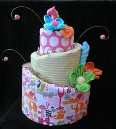 Diaper Cake For Baby Shower by babyblossomco on Etsy, $110.00