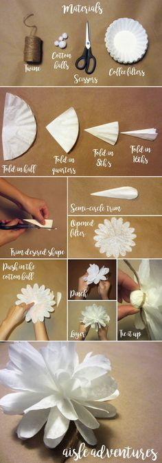 Twine, cotton balls, scissors and coffee filters = Easy-peasy DIY coffee filter flowers!
