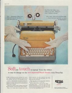 """Description: 1957 ROYAL TYPEWRITER vintage print advertisement """"Softest Touch"""" -- Softest touch in typing! Even the ribbon is easy to change on the new improved Royal Electric with Twin-Pak -- Size: The dimensions of the full-page advertisement are approximately 10.5 inches x 13.25 inches (27 cm x 34 cm). Condition: This original vintage full-page advertisement is in Very Good Condition unless otherwise noted."""