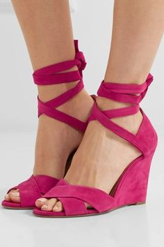 Wedge heel measures approximately 85mm/ 3.5 inches Fuchsia suede  Ties at ankle Designer color: Paradise Pink Made in Italy