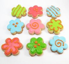 Decorated flower cookies