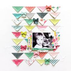 Layout using Fancy Free by Paige Evans & Pink Paislee. Bows made using the Fiskars bow punch! 12x12 Scrapbook, Scrapbook Sketches, Scrapbook Page Layouts, Simple Scrapbooking Layouts, Scrapbook Designs, Digital Scrapbooking, Washi, Crate Paper, 6 Photos