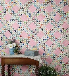 """Pretty in Pink! Vintage OCEAN WAVES QUILT 82x72"""" Great Fabrics of the 60-70s www.Vintageblessings.com"""