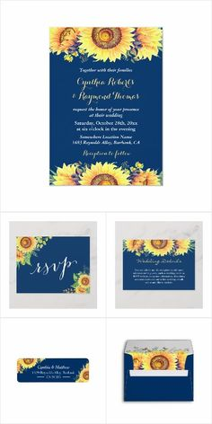 Rustic Sunflowers Navy Blue Invitation Suite - Wedding Invitation Set - Mix and Match the items you need! Card Box Wedding, Wedding Rsvp, Wedding Matches, Rustic Wedding, Forest Wedding, Trendy Wedding, Fall Wedding, Summer Wedding Invitations, Wedding Invitation Suite