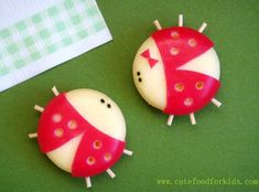 cutest appetizers or ordervs at a party :) babybel cheese spheres made to look like ladybugs!