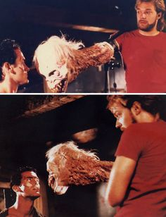 Greg Nicotero and Bruce Campbell with the Pee Wee Head on the set of Evil Dead 2 Evil Dead Book, Evil Dead Series, Evil Dead 1981, Ash Evil Dead, Book Of The Dead, Horror Icons, Horror Comics, Best Horror Movies, Horror Films