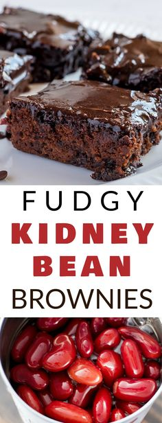 This Fudgy KIDNEY BEAN Brownies recipe is the BEST!  These brownies are easy to make, moist and made with red beans to make them more healthy!  They have a thick chocolate frosting on top that everyone will love!  This is a sneaky way to get your kids to eat more vegetables!  Trust me, everyone will think they're the best brownies ever!