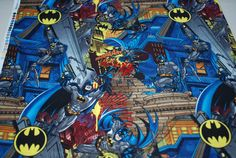 SALE 25% OFF Batman Gotham City Skyline  Nightscape - High Quality Cotton Fabric Rare - $2.24 USD