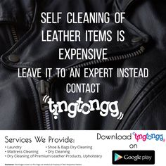 We believe cleaning of your leather items should come down to convenience!  There is no need to invest in cleaning products if you won't use them regularly Contact @TingTongg to assist with #leather item cleaning today: +91 7045 012 012 #Cleaning #Leather #Bags #Jackets in #Mumbai
