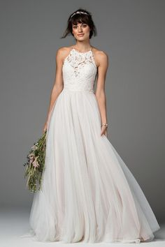 Lace wedding dresses 2018 Watters Wtoo Esperance wedding dress. Find this dress at Janene's Bridal Boutique located in Alameda, Ca. Contact us at (510)217-8076 or email us info@janenesbridal.com for more information.