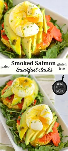 Read More About Smoked Salmon Breakfast Stacks ~ Real Food with Dana Easy Meals For Two, Healthy Meals For Two, Healthy Eating, Easy Dinners, Breakfast Menu, Free Breakfast, Breakfast Recipes, Breakfast Salad, Healthy Recipes On A Budget
