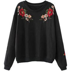 Black Embroidery Flower Long Sleeve Sweatshirt (8.885 HUF) ❤ liked on Polyvore featuring tops, hoodies, sweatshirts, cotton sweatshirts, flower top, embroidered sweatshirts, embroidery top and long sleeve tops