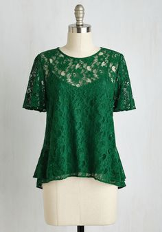 All In a Day's Flirt Top in Emerald