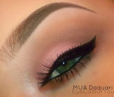 Soft Pink with a bold black cateye for and extra pop.