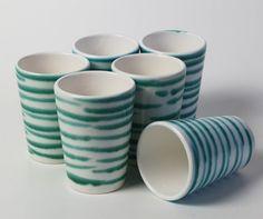 Gmundner Keramik Grün geflammt 6 Becher Saftbecher Milchbecher 200 ml Mugs, Farmers, Tableware, Juice, Tumblers, Dinnerware, Tablewares, Mug, Dishes