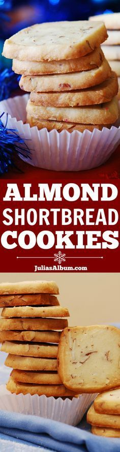 Almond shortbread cookies - made with real almonds + Amaretto (or almond extract).  Perfect for Christmas cookie box!