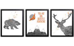 Orange And Gray Nursery Art Woodland Animal Wall by TheWildlands
