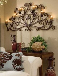 Tuscan Candelabra - I think this would make a beautiful headboard vs a traditional headboard.