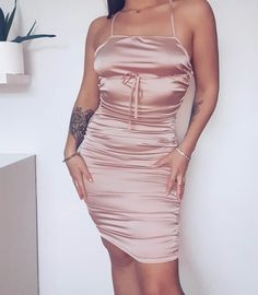 NaaNaa sqaure neck ruched tie up back mini dress in pale pink Satin Mini Dress, Satin Dresses, Satin Sleepwear, Pale Pink, Street Wear, Bodycon Dress, Street Style, Number, Colour