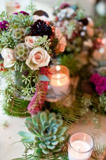 scabiosa pods and succulents