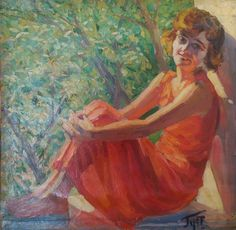 Portrait Circa 1930 Oil on board.  Fauvist Unknown artist.