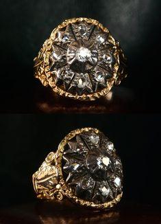 Late 19th Century European & Rose Cut Diamond Signet Ring, Silver, 14K
