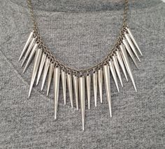 Spike ketting/necklace zilver  www.ohsohip.nl