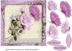 Pink Flowers and Butterfly Shabby Chic Get Well Card
