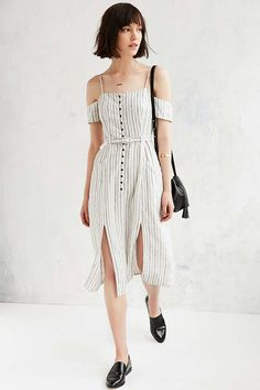 Urban Outfitters Adele Off-The-Shoulder Ivory Striped Dress - Urban Outfitters
