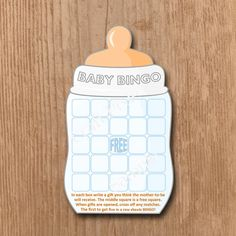 Baby Shower BINGO Game Printable  Baby Bottle  by TheCraftPixie
