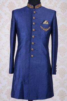 Indian Engagement Dress, Engagement Dresses, Mens Sherwani, Wedding Sherwani, Kurta Designs, Blouse Designs, Prince Suit, Indian Groom Wear, Zardosi Work