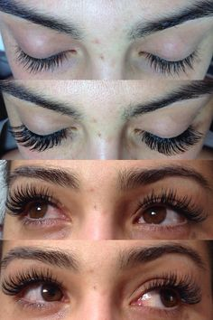 Before and after photos of lash extensions on my beautiful sister.