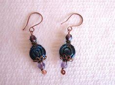 Dark Purple Jelly Roll Swirl and Fire Polish Glass Copper Tone Earrings, $6