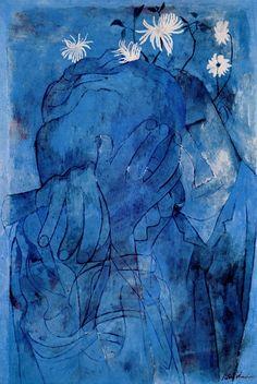 Ben Shahn ~ I Never Dared to Dream, 1960 (gouache) Walker Evans, Gouache, Illustrations, Illustration Art, Ben Shahn, Blue Drawings, Social Realism, Portraits, Mid Century Art