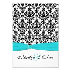 Aqua, White and Black Damask II Wedding Invitation