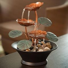 Water Lily Serenity Fountain Indoor Tabletop Table Small