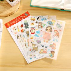 6 PCS Translucent Cute Stickers Paper Girl Combination Paper Doll Mate Children Notebook Stationery Decorative Stickers